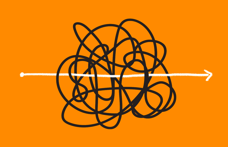 A heavily tangled ball of black lines, with a white line going straight through the middle, against an orange background.