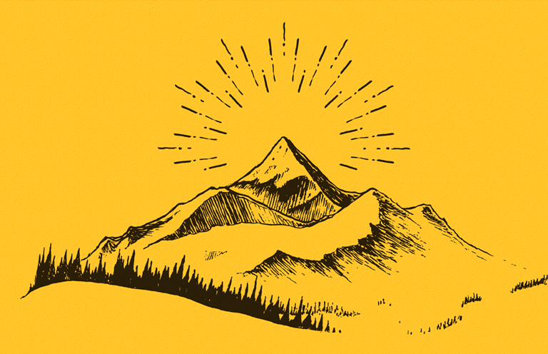 A mountaintop with rows of pine trees against a canary yellow background.