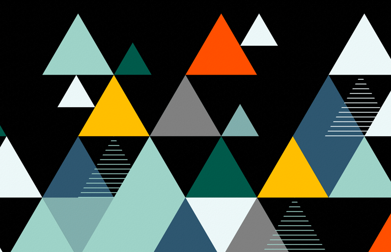 A collage of multi-colored trianges (gray, orange, white, black, blue, and green) against a black background.