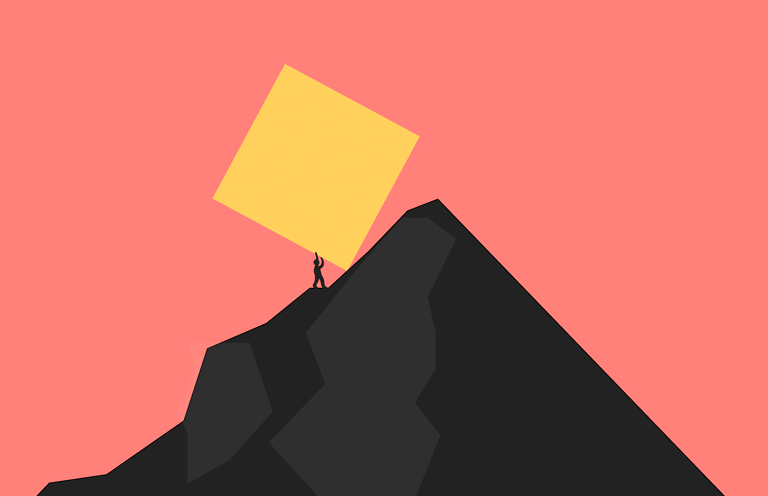a person pushing a very large block up a mountain