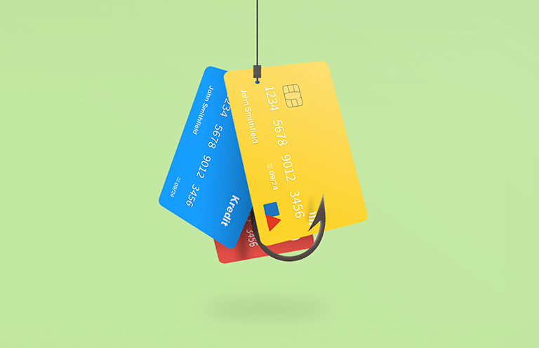 credit cards on a hook