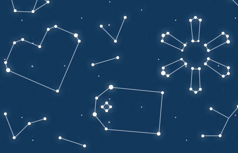 Bright white star constellations against a dark blue sky