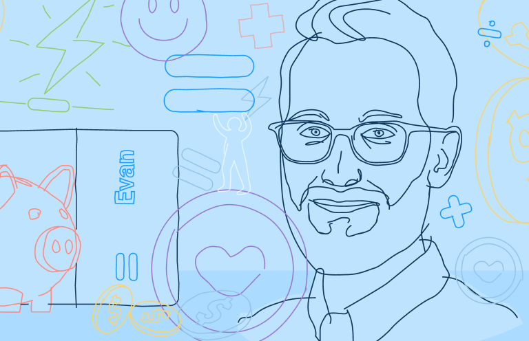An illustration of a man with a beard and glasses, with artistic renderings of a piggy bank, mathematical signs, and the Even logo.