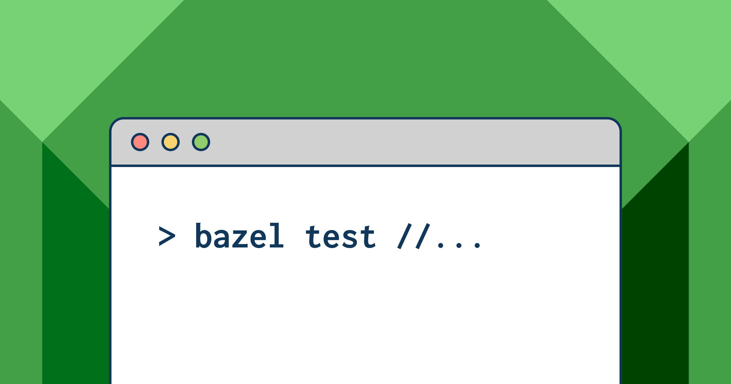 "A window on a computer screen with a line of code that says ""bazel test"""