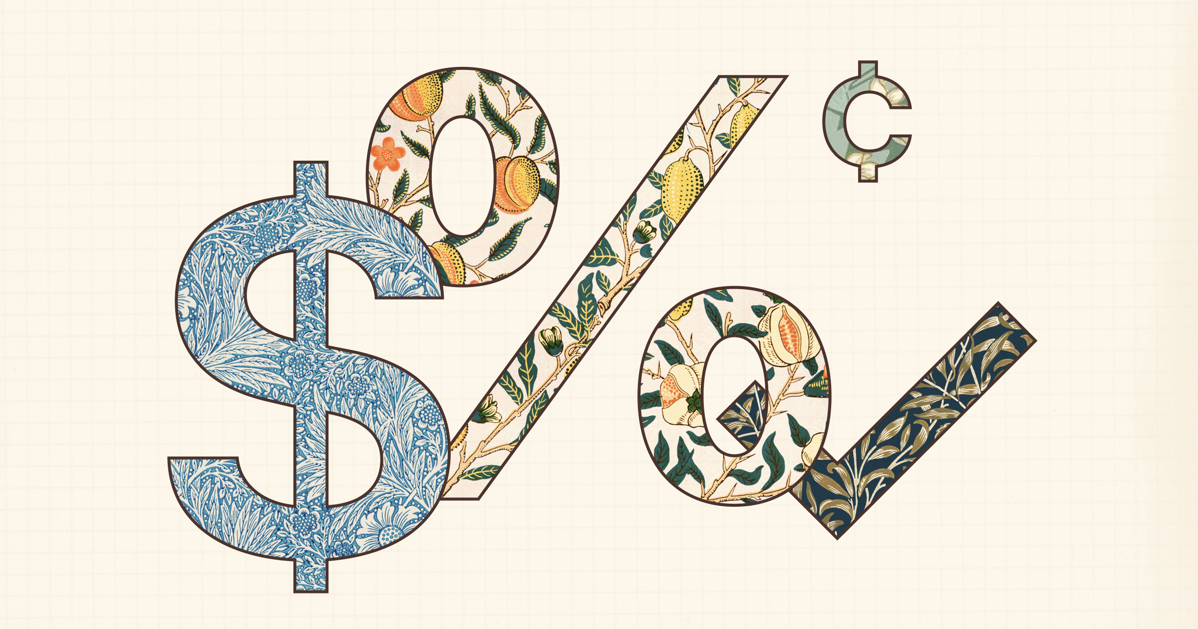 A dollar sign, percent sign, cent sign, and check mark, all filled in with a floral design.