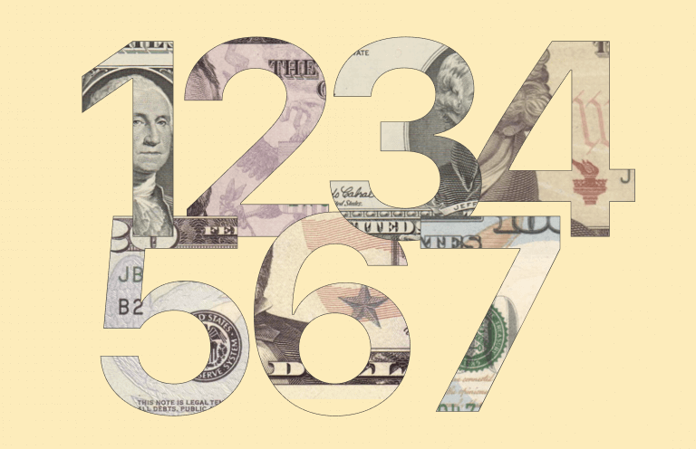 The numbers one, two, three, four, five, six, and seven, each one filled in with the design of various denominations of U.S. paper currency.