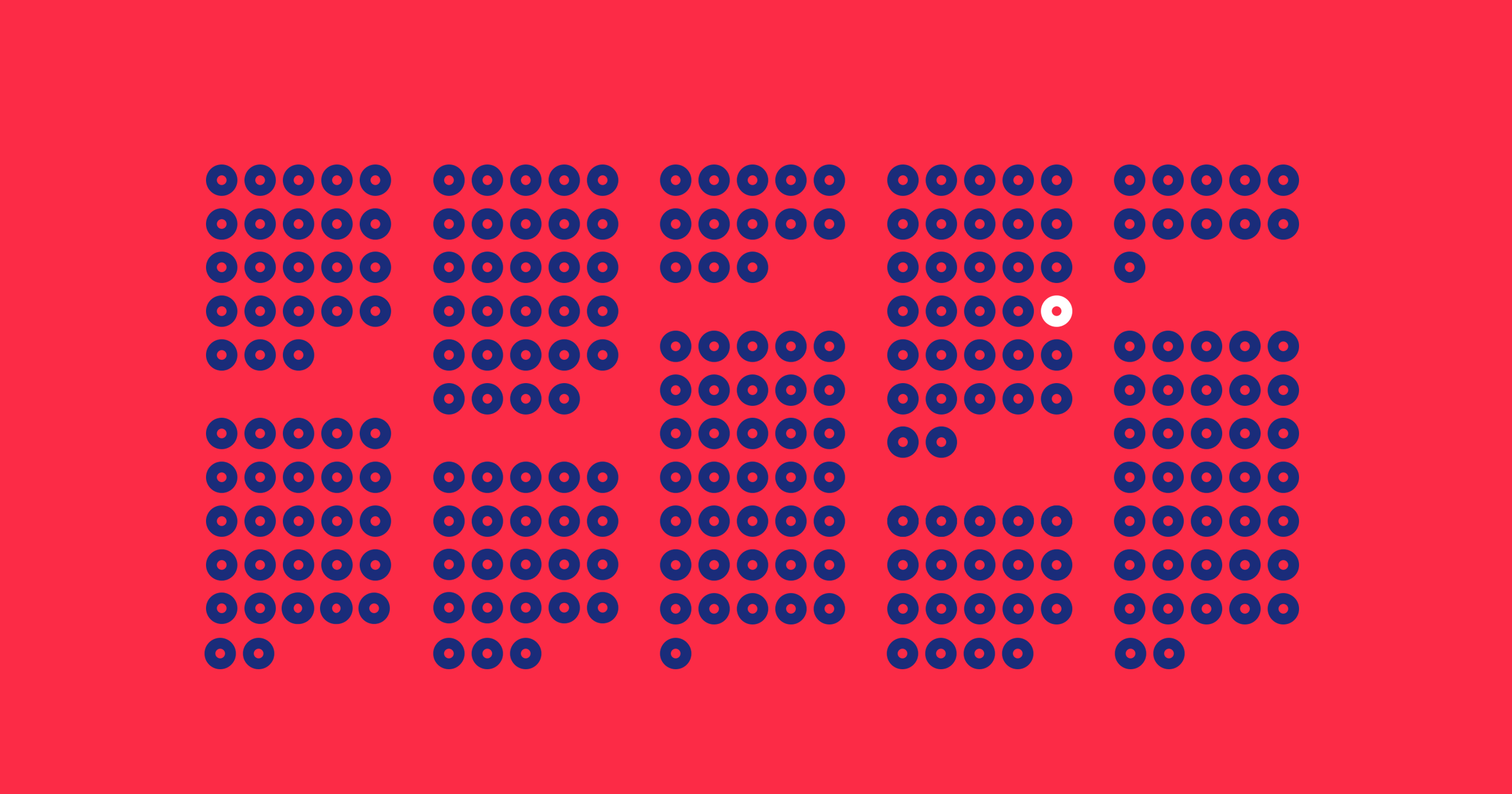 A bright red background with 249 blue dots, and one white dot.