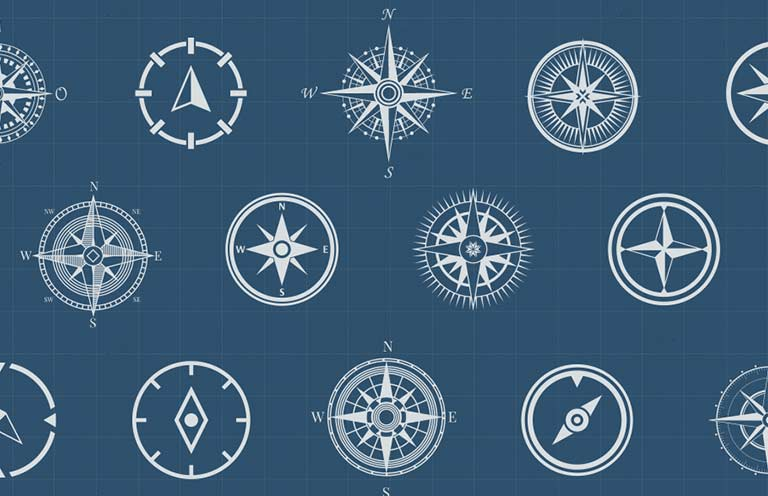 Sixteen different styles of white compasses against a navy blue background.