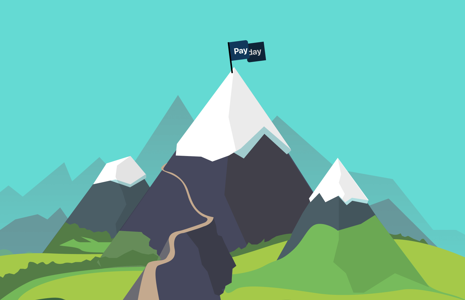 "A trail leading up a mountain, with a flag that says ""Payday"" at the top of the mountain."