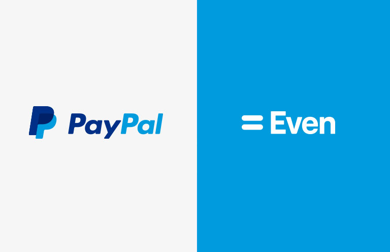 A blue PayPal logo against a white background on the left, and a white Even logo against a blue background on the right.