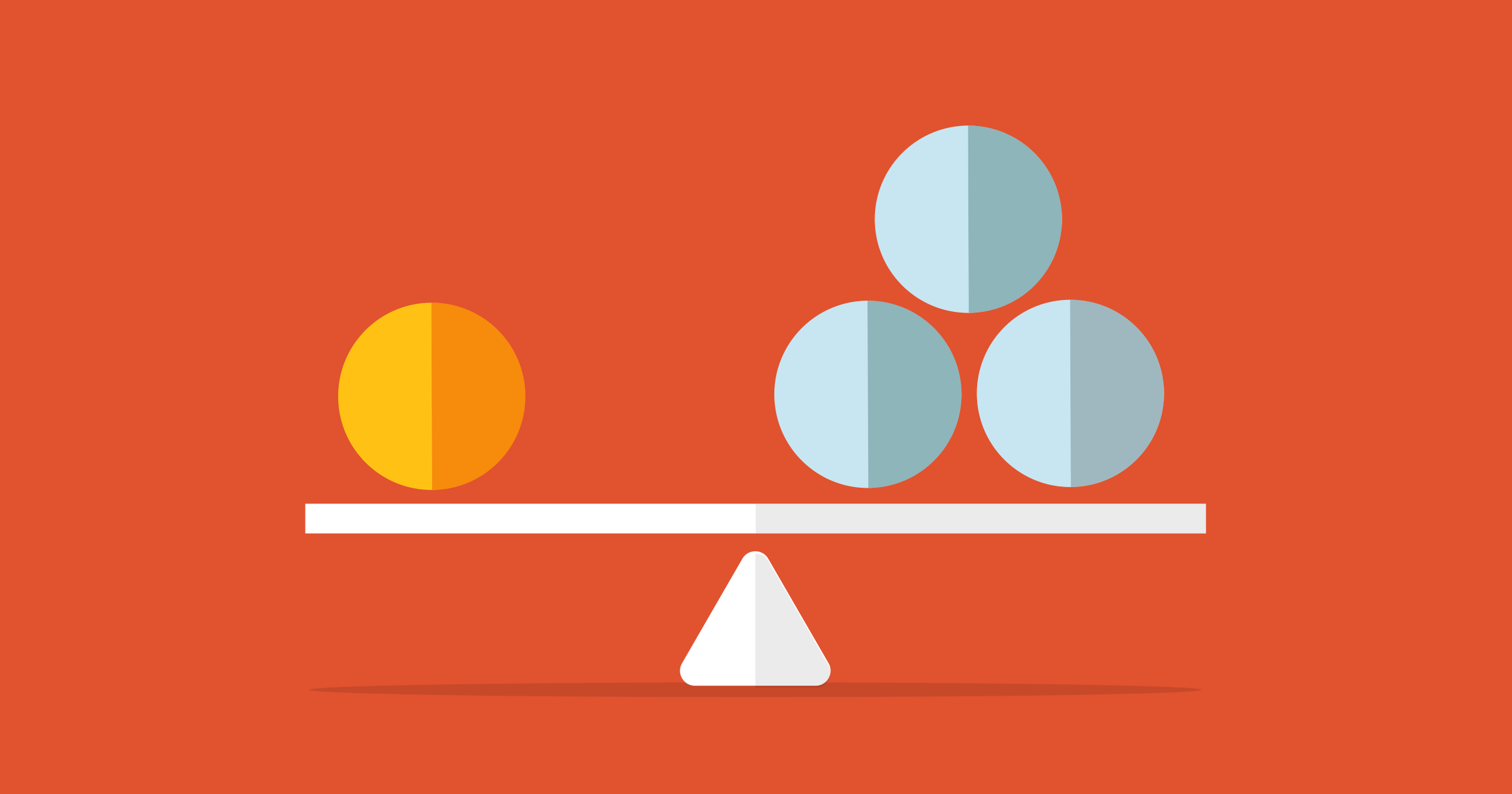 A balanced seesaw with one orange sphere on the left, and three blue spheres on the right, against a red background.