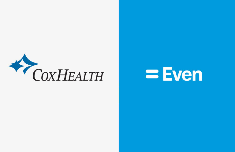 The CoxHealth logo on the left against a dark blue background, and the Even logo on the right against a lighter blue background.